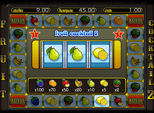Бонус игра на слот машина Fruit Cocktail 2
